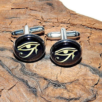 Eye of Horus logo cufflinks,  Eye of Ra logo cufflinks, Horus simbol cuff, Eye of Horus patch, Ancient Egyptian Jewelry, Horus Egyptian God