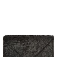 Alexander Wang Black Coated Calf Hair Prisma Envelope Wallet