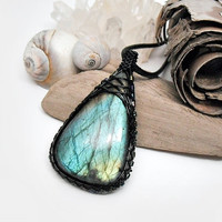OOAK Wire wrapped Labradorite, blue green Labradorite, beaded wire wrap, leather necklace, black copper wire, unique necklace for women