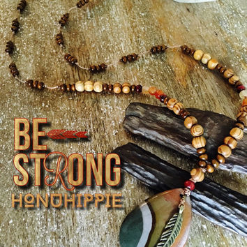 Boho hippie jewelry, native American jasper necklace