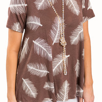 Feather Short Sleeve Loose Blouse