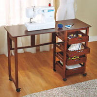 Fold Away Rolling Desk Work Station 4 Drawers Sewing Crafts Home School Walnut