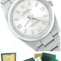 2015 MINT Rolex Oyster Perpetual Stainless Steel Silver 114200 34mm Smooth Watch