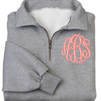 Monogrammed Sweatshirt  Quarter Zip Pullover by MadAboutMonograms