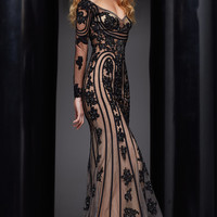 Long Lace Formal Gown with Long Sleeves by Jasz