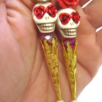 Rockabilly Gold Rush Day of the Dead Cake Topper Sugar Skull Gothic Wedding Pin Bride Groom