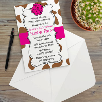Instant Download - Brown Cow Bright Pink Animal Print Country Farmer Farm Cowgirl Ranch Floral Slumber Birthday Party Invitation Template