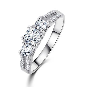White Gold Color Crystal Rings For Women