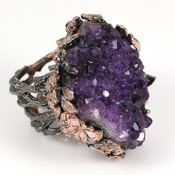 One of a kind unique handmade natural druzy amethyst 925 sterling silver ring (US size 10)