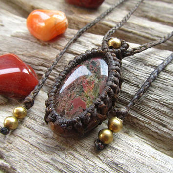 Plume Agate Macrame Women's Necklace / Stone Necklace / Gemstone Macrame Necklace / Long - Short Necklace / Boho Necklace / Hippie Necklace