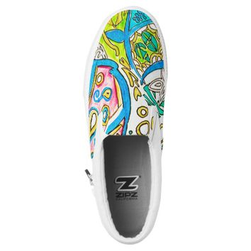 Abstract Underwater Jellyfish Pen Drawing ZIPZ Slip-On Sneakers