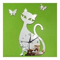 Quartz Wall Clock Living Room Creative Cute Black Cat   silver mirror