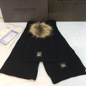 Louis Vuitton Fashion Wool Winter Hat Cap Scarf Scarves Set Two-Piece