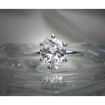 A Perfect 2CT Oval Cut Solitaire Russian Lab Diamond Engagement Ring