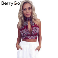 BerryGo Summer red floral print lace women tank tops Girls 2016 party bow crop top Hollow out high neck backles sexy halter tops