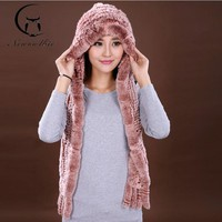 The New Autumn And Winter Warm Fur Hat Rex Rabbit Fur Hat Fashion Ear Muff Ear Warmer Scarf Cap Winter Rabbit Fur Scarves