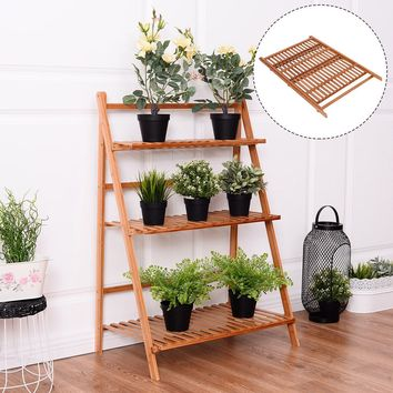 3 Tier Outdoor Bamboo Flower Pot Shelf Stand Folding Display Flower Pot Shelf Stand Garden Yard