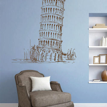 Leaning tower of Pisa Wall Decals Pisa wall decals Cityscape Pisa Wall Decals Italy Wall Decals kik2420