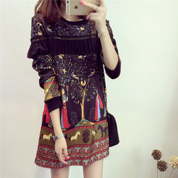 2016 new autumn long sleeve short mini dress plus size women clothing cheap-clothes-china retro printted indian dress vestidos