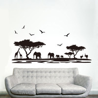 [Saturday Monopoly] DIY black safari animal wall stickers for kids rooms elephant decoration decals quote living room home decor