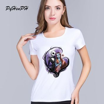 PH New 2016 Corpse Bride Pattern Printed T shirt Women Casual Short Sleeve Gothic Nightmare Before christmas Tee Tops Clothes