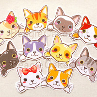 Cute Cat Stickers: Kawaii Kitty Stickers, Erin Condren Sticker, Animal Stickers, Gift for Cat Lovers, Planner Stickers, Scrapbook Decoration