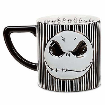 disney parks jack skellington bow striped coffee cup mug new