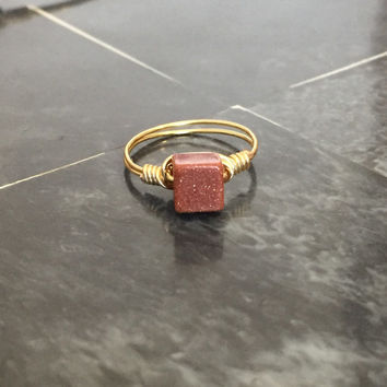 Square Genuine Goldstone Ring