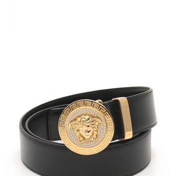Versace VERSACE belt Medusa small leather rhinestone DCU 4954 (14774