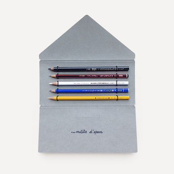 Antica Cartotecnica Vintage Pencils, 5 Pencils in Gray Folder