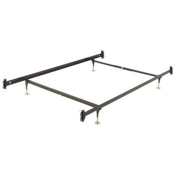 Full size Metal Bed Frame with Hook-on Headboard and Footboard Brackets