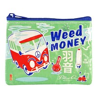 Weed Money Coin Purse in Blue and Green
