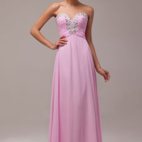 Pink Strapless Pleated Beaded Chiffon Maxi Evening Dress