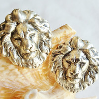 Lion cufflinks, bronze lion head cufflinks