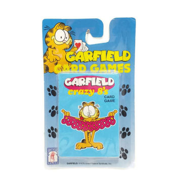 New Vintage Garfield Crazy 8's Card Game, Crazy Eights, Garfield Collectible, 1970's, 1980's, Vintage Toys, Childrens Games, Comics Cartoons