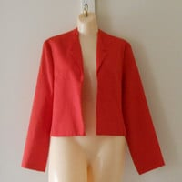 Womens Red Blazer / Red Bolero Jacket / Christmas Blazer Cropped Blazer / Casual Blazer 60s blazer Christmas Clothes Christmas Clothing Work