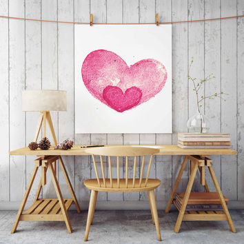 "Pink girls bedroom decor, Nursery art ""Watercolor Heart"" print Gift for Her Pink Nursery wall decor Printable wall art Pink girls Poster"