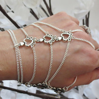 Sized Heart Hand Chain, Slave Bracelet, Ring Bracelet, Thumb Chain, Thumb Ring, Hand Jewelry, Custom Sized, Adjustable, Silver, Made to Orde