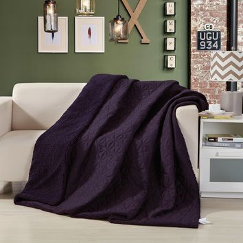 DaDa Bedding Eggplant Aubergine Reversible Soft Stitched with Sherpa Backside Quilted Ultra Sonic Throw Blanket Coverlet Bedspread (BJ0106)