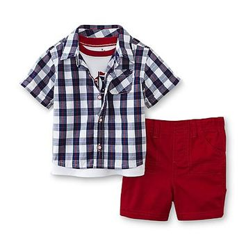 Small Wonders Newborn Boy's T-Shirt, Button-Front Shirt & Shorts - Sailboat - Baby - Baby & Toddler Clothing - Collections & Sets