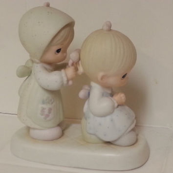 Precious Moments Figurines, To A Very Special Sister 1983, Big Sister Doing Little Sister's Hair in Bows, Little Girls Collectible