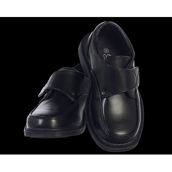 Black Matte Finish Oxford Dress Shoes with Velcro Strap (Boys 5 Toddler - 6 Youth)