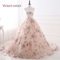 Vivian's Bridal Sweetheart Ball Gown Evening Dress Tank Sleeveless Party Dresses Flower Evening Gowns Lace Up 26405