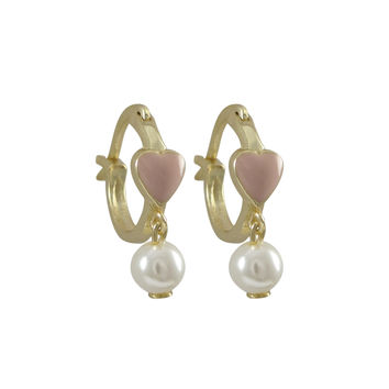 Pink Enamel 4.5x5mm Heart On Gold Plated Sterling Silver Baby Huggie Leverback Earrings, With Hanging 4mm White Pearl, 0.44