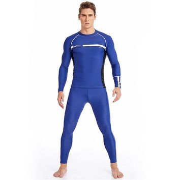 Blue Long Sleeve Men's Rash Guard Wetsuit for Outdoor Sports Diving Swim Suit for Snorkeling Spearfishing Surf Sets
