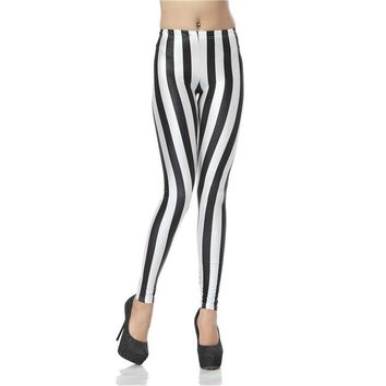 Black & White Stripes Women's Slim High Waisted Elastic Printed Fitness Workout Leggings