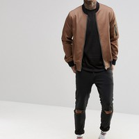 ASOS Bomber Jacket With MA1 Pocket In Light Brown