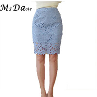 2017 New summer pencil skirts lace women high waist knee-length sexy bodycon skirts casual Saias Femininas pink,blue,white,black