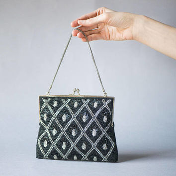 Beaded Evening Bag Black Silver. Beaded Clutch Cocktail Purse. Formal Evening Purse Vintage. Handbag Prom Party. 1960s Purse Rhombus Rare