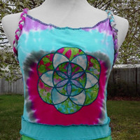"Rainbow Warrior Patchwork DRESS ~ ""Seed of LIFE"" ~ Upcycled Travelers Festival Clothing ~ Medium ~ Summer Featival Gear!"